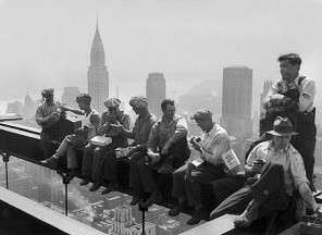 4591656~Construction-Workers-Take-a-Lunch-Break-on-a-Steel-Beam-Atop-the-RCA-Building-at-Rockefeller-Center-Posters