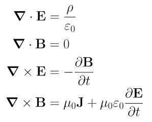 Resultado de imagen de Las cuatro ecuaciones de Maxwell sobre electricidad y magnetismo